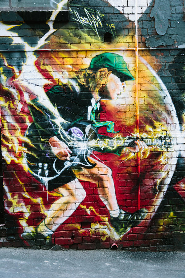Muurschildering van Angus Young in AC/DC-Steeg, Melbourne stock foto