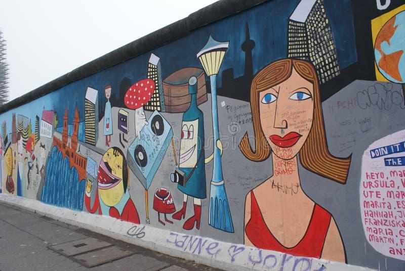 Muurschildering van Berlin Wall stock foto