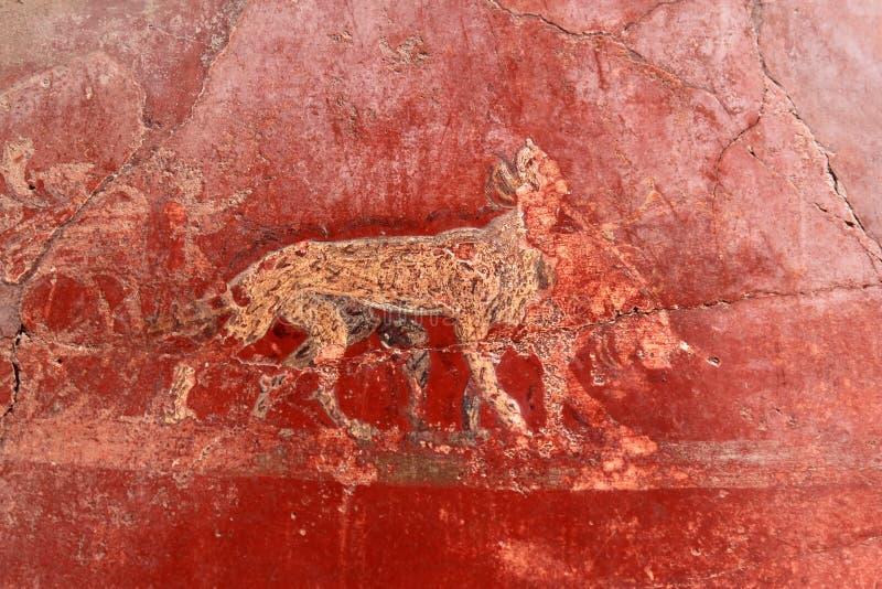 Muurschildering van dieren in Roman Pompeii, Italië royalty-vrije stock afbeeldingen