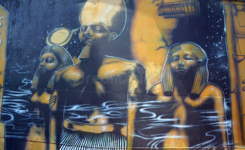 Muurschildering van Egyptische goden stock foto
