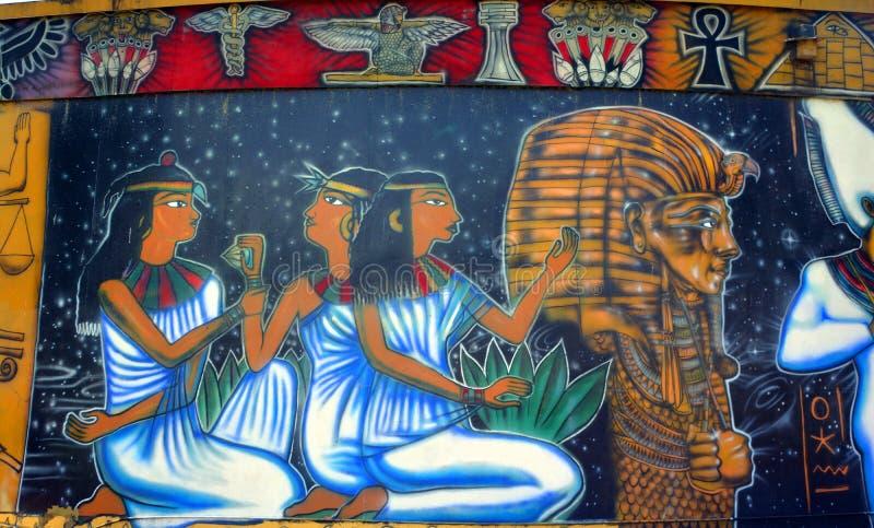 Muurschildering van Egyptische goden royalty-vrije stock foto's