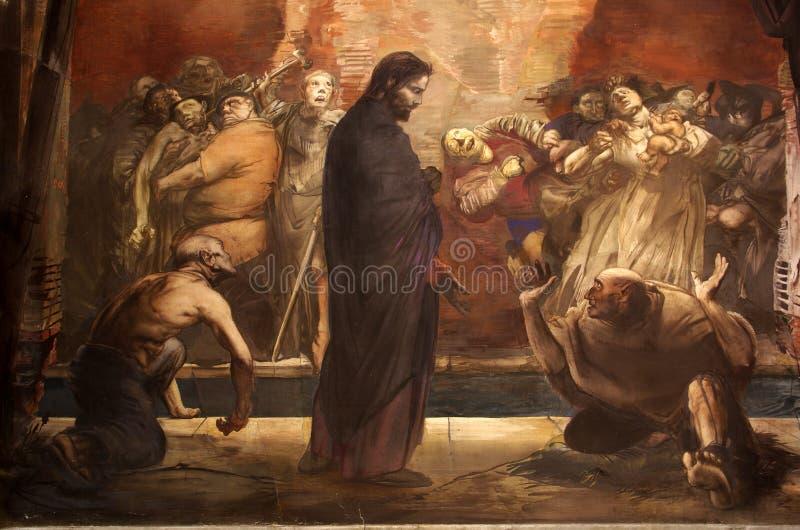 Muurschildering van het bespotten van Jesus stock foto's