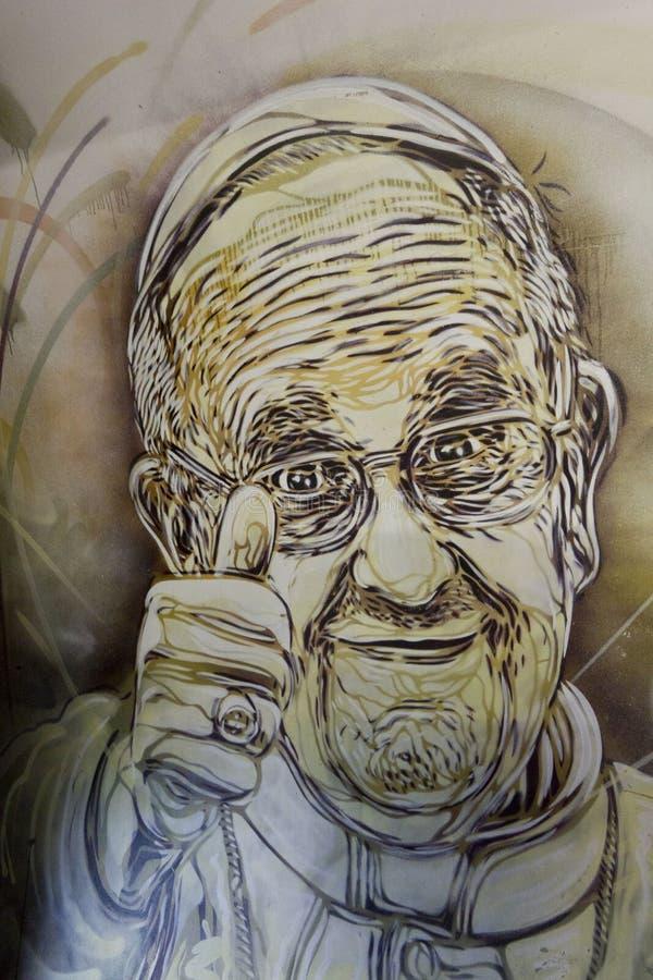 Muurschildering van Paus Francis royalty-vrije illustratie