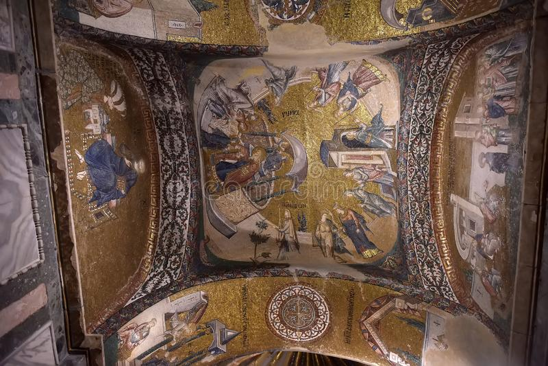 Muurschilderingen onder de koepel in de Kerk van de Heilige Verlosser buiten de Muren De familienaam van het nu is het Kariye-Mus royalty-vrije stock afbeeldingen