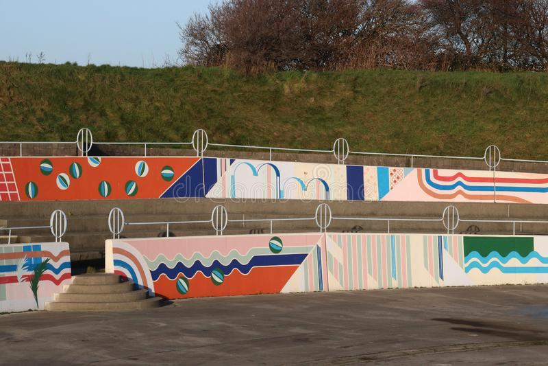 Muurschilderingen op Morecambe-plaats Eden Project North royalty-vrije stock foto