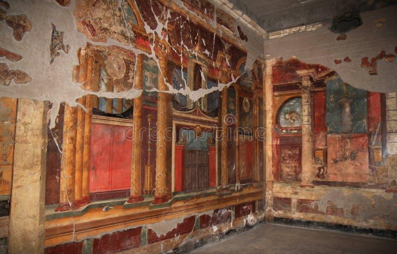 Muurschilderingen in Roman Villa Poppaea, Italië royalty-vrije stock foto's