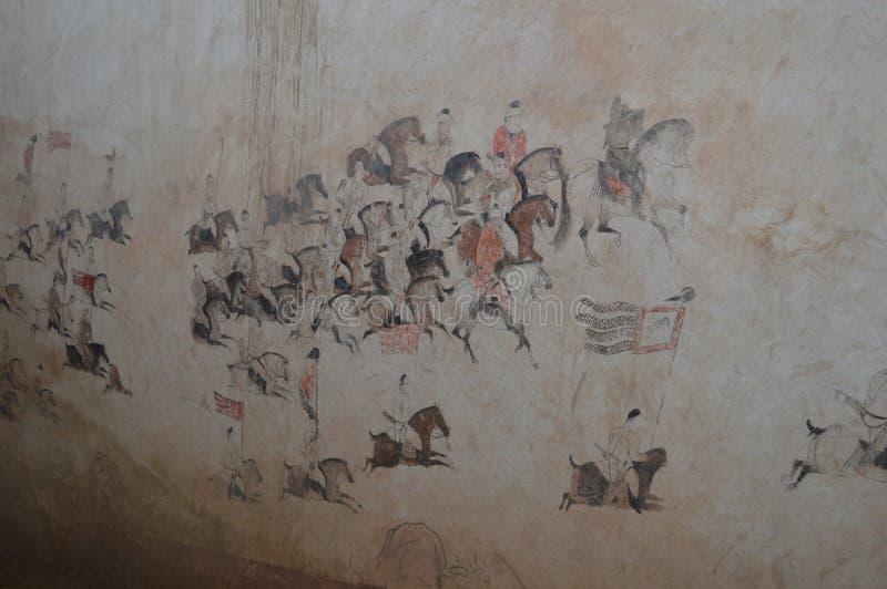 Muurschilderingen in Tang Dynasty royalty-vrije stock foto's