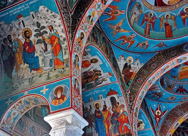 Muurschilderingfresko bij Sihastria-klooster stock fotografie