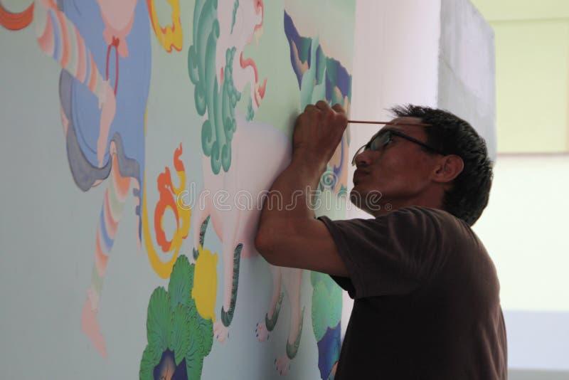 Muurschilderingkunstenaar royalty-vrije stock fotografie