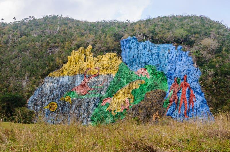 Muurschilderingvoorgeschiedenis in Vinales-Vallei, Cuba stock foto's