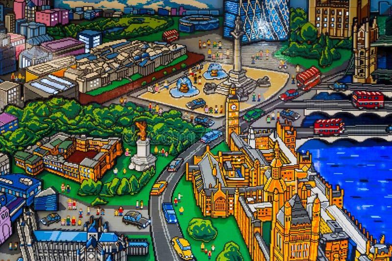 Muurvertoning in LEGO Store in Londen royalty-vrije stock afbeeldingen