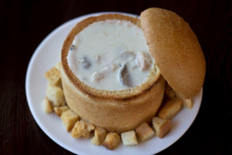 _poner crema sopa con pollo y seta fotografía de archivo