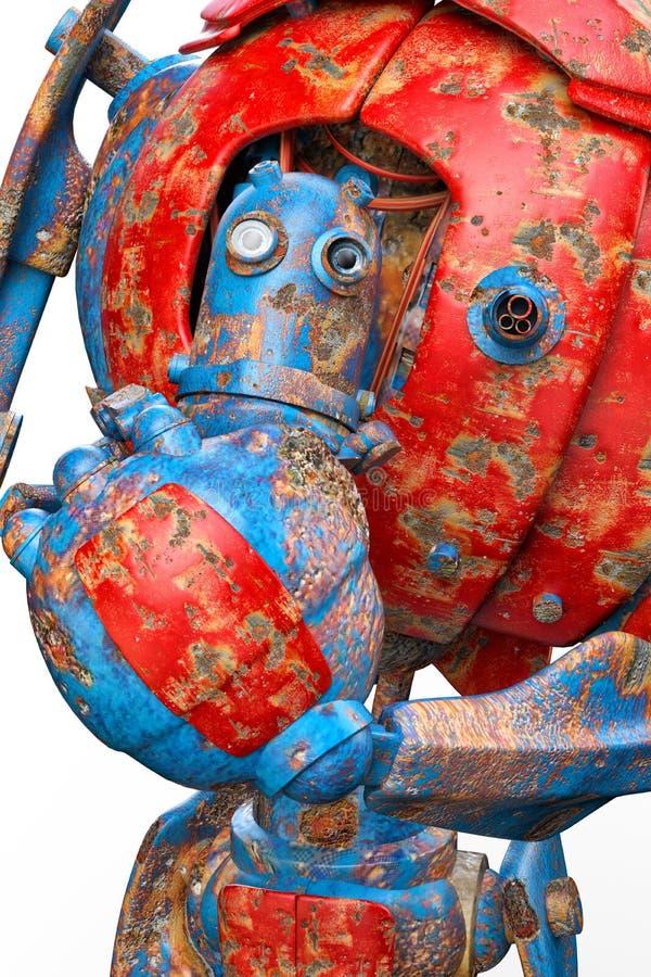 Muy viejo pensamiento del robot stock de ilustración