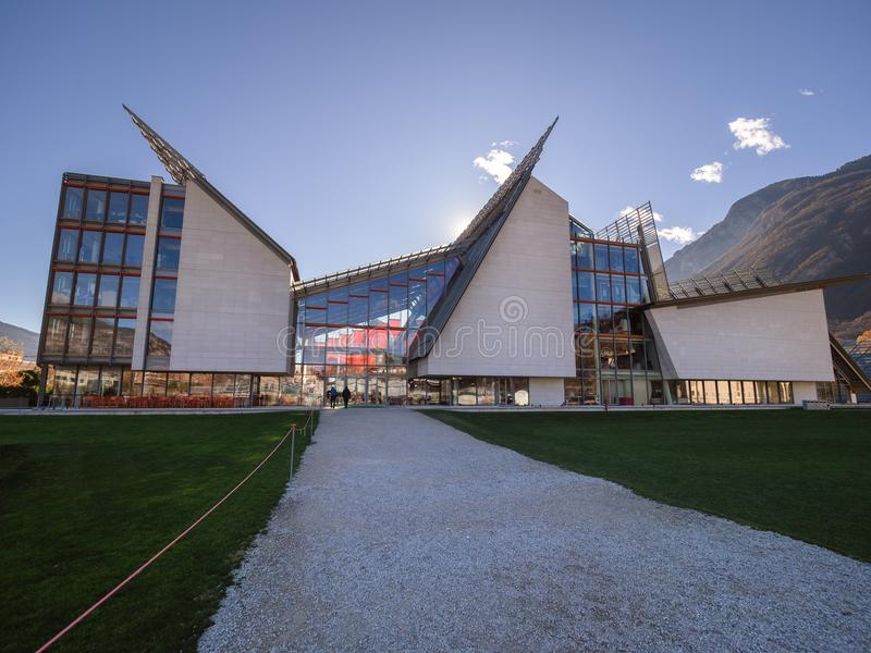 Muza jest muzeum nauka w Trento projektował architec zdjęcia royalty free