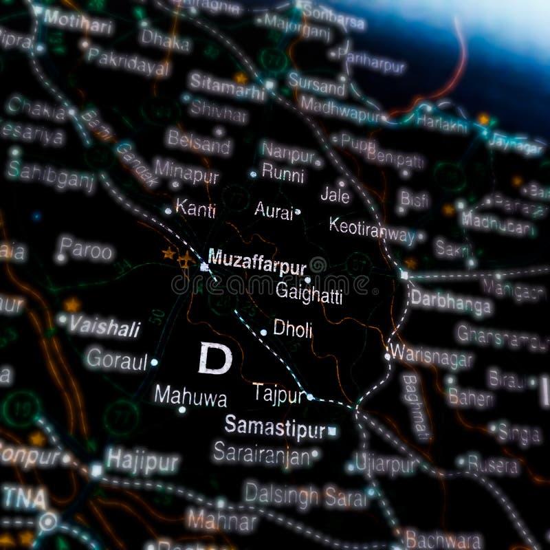 Muzaffarpur city map presentation on dark abstract royalty free stock image