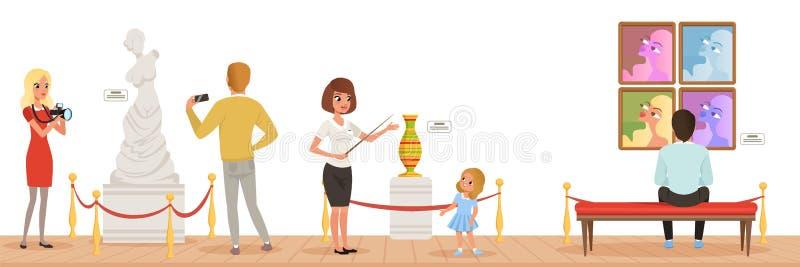 Muzealni goście patrzeje klasycznego dzieło sztuki, muzealny przewdonik mówi dziewczyny o eksponatach, ludzie uczęszcza muzeum royalty ilustracja