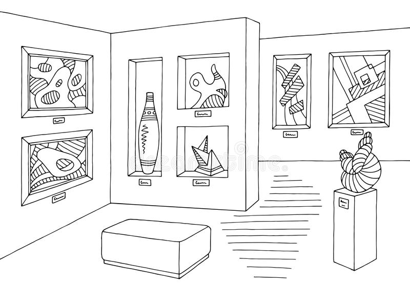 Muzealny graficzny czarny biały wewnętrzny nakreślenie ilustraci wektor royalty ilustracja