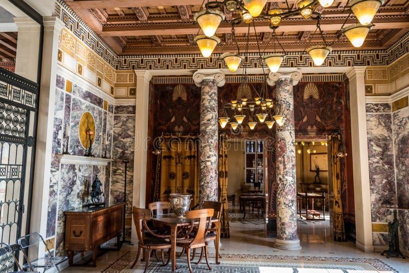 Muzealny Grecja, willa Kerylos, wnętrze zdjęcia stock