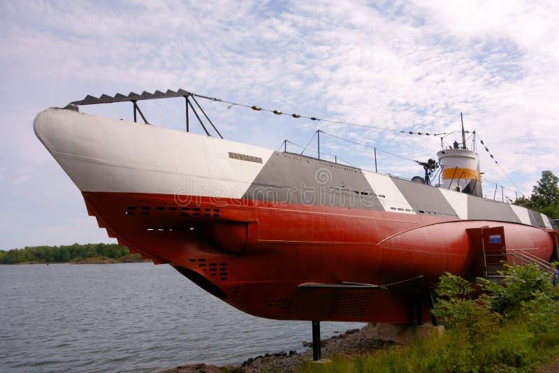 Muzealny podwodny Vesikko w Suomenlinna fortecznej wyspie w Helsinki, Finlandia zdjęcia stock