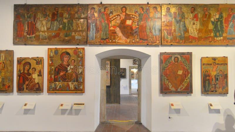 Muzealny wnętrze z wystawą w Sanok, Polska obrazy stock