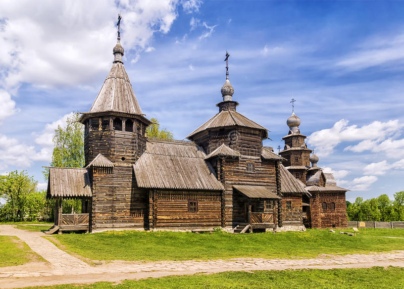 Muzeum drewniana architektura w Suzdal, Rosja fotografia stock