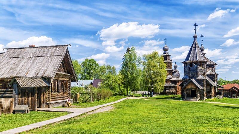Muzeum drewniana architektura w Suzdal, Rosja zdjęcie stock