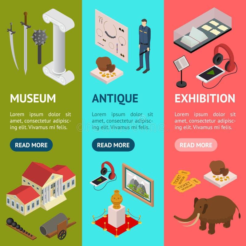 Muzeum Eksponuje galeria sztandaru Vecrtical Ustalonego Isometric widok wektor royalty ilustracja