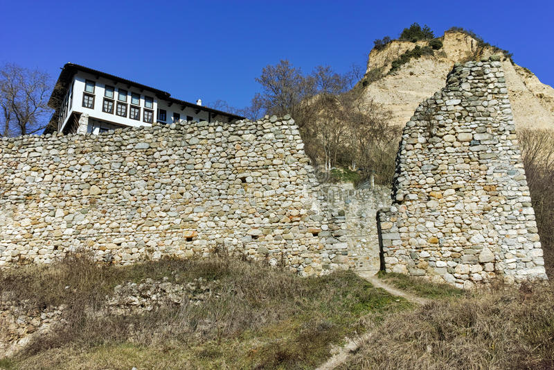 Muzeum Kordopulov dom i piasków ostrosłupy w Melnik miasteczku, Bułgaria obrazy royalty free