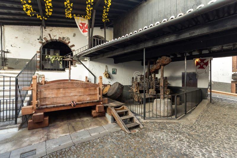 Muzeum - magazyn droga rocznika wina madera obraz stock