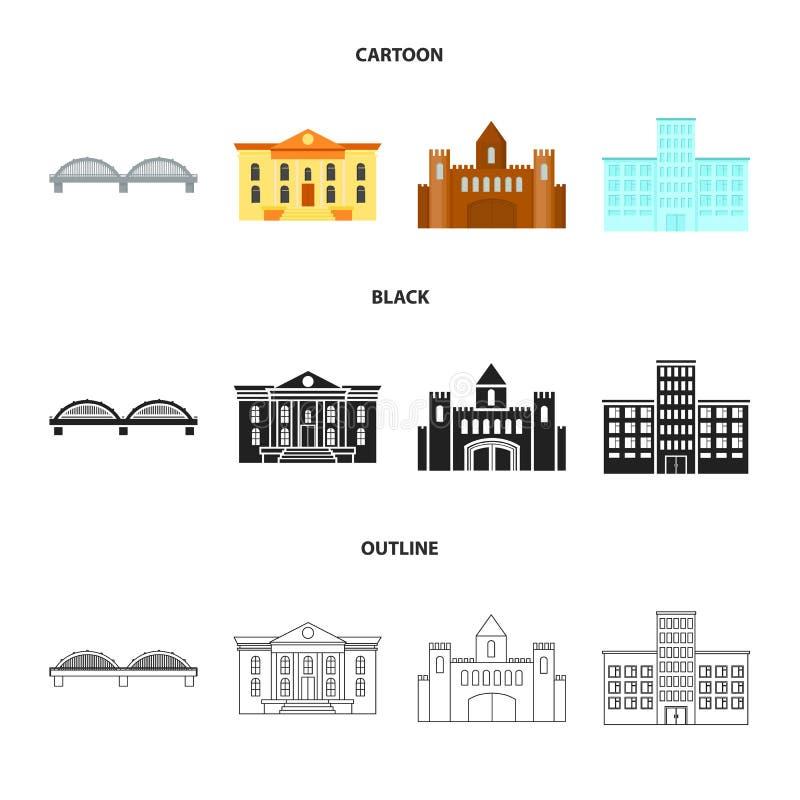 Muzeum, most, kasztel, szpital Budować ustalone inkasowe ikony w kreskówce, czerń, konturu symbolu stylowy wektorowy zapas ilustracja wektor