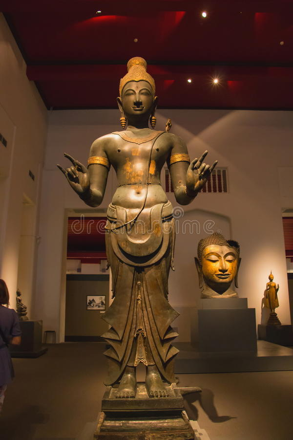 Muzeum Narodowe Bangkok, stary kamienny Buddha zdjęcie stock