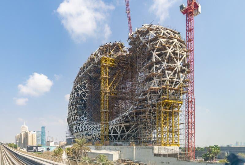 Muzeum przyszłość w budowie w Dubaj fotografia royalty free
