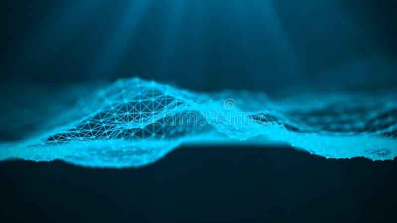 Muziek abstracte blauwe achtergrond Correcte golf Futuristisch technologieai element Grote gegevensvisualisatie het 3d teruggeven vector illustratie