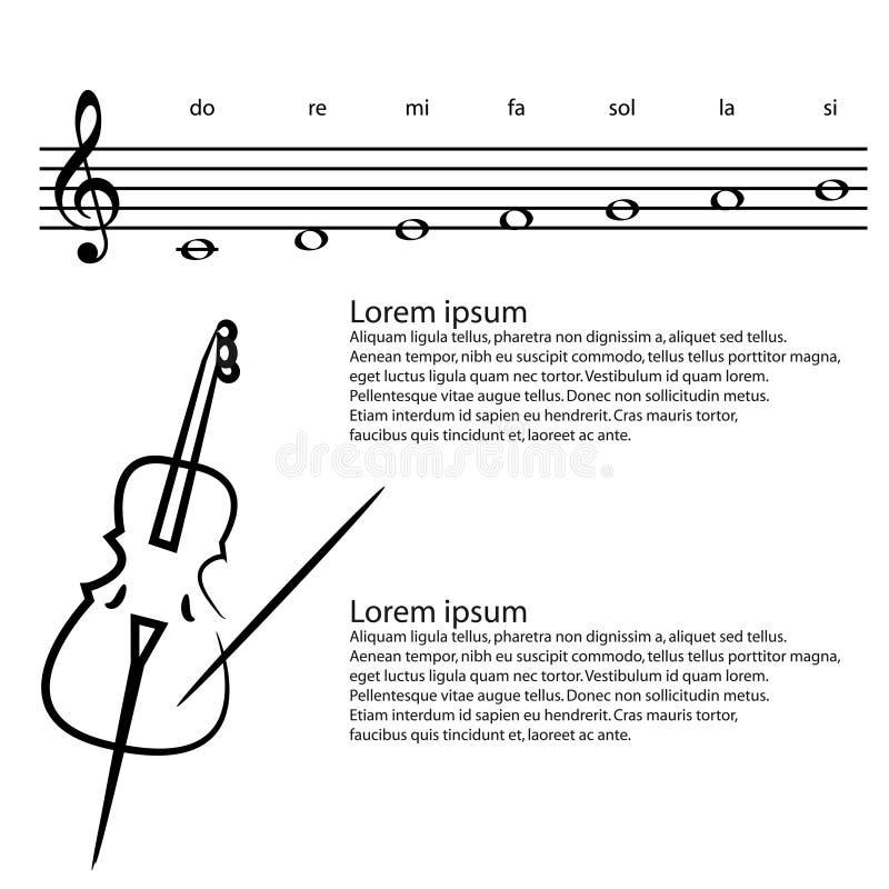 Muziek, contrabas, Abstracte g-sleutel, nota's Vectorachtergrond royalty-vrije illustratie