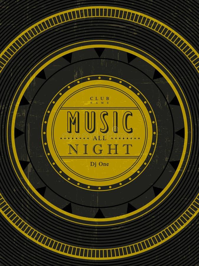 Muziek de hele avond affiche stock illustratie