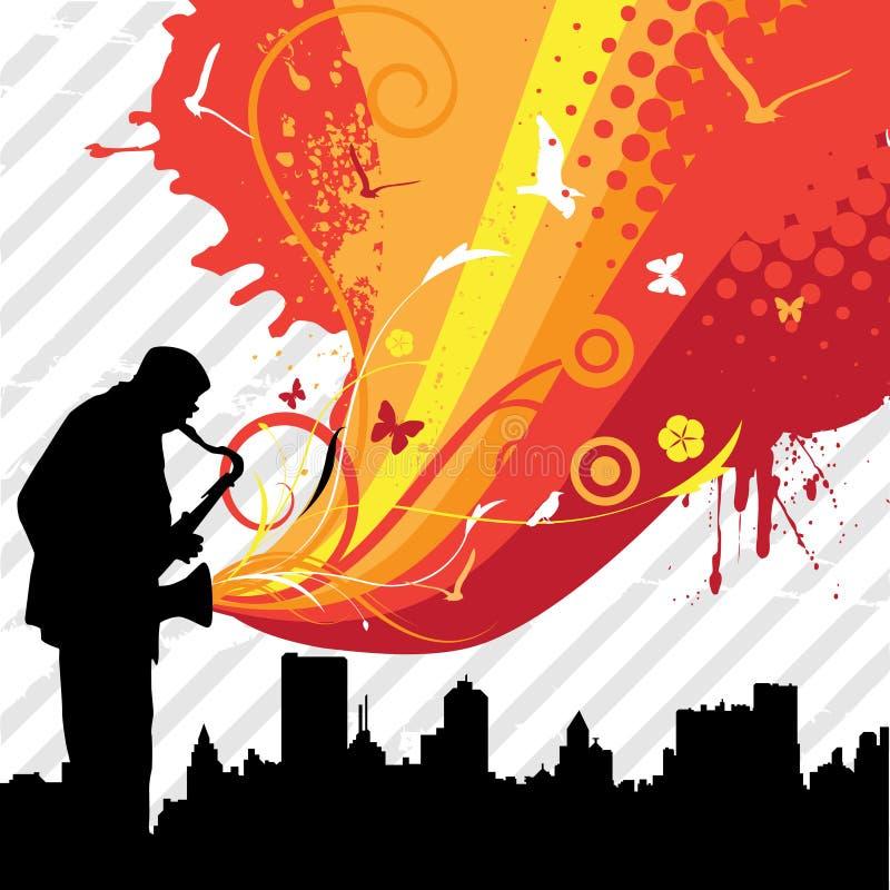Muziek in de stad stock illustratie