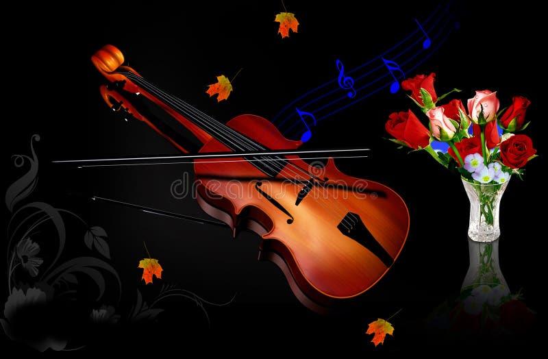 Muziek en bloemen royalty-vrije illustratie