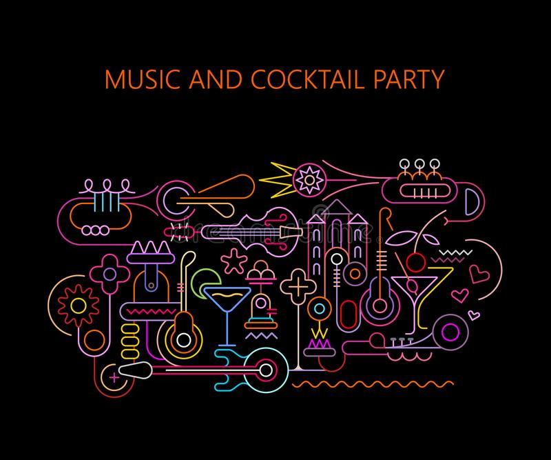 Muziek en Cocktail party royalty-vrije illustratie