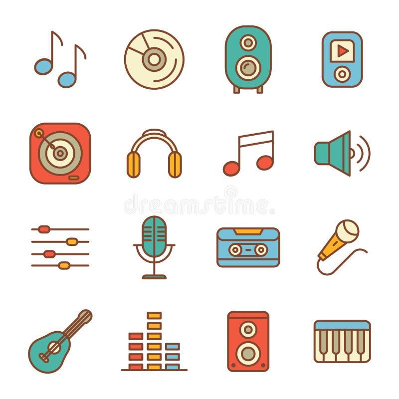 Muziek en correcte Pictogrammen royalty-vrije illustratie