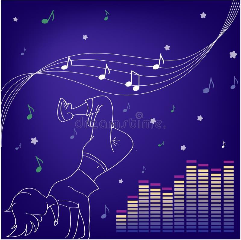 Muziek en Dansen Silhouetten van mensen het dansen royalty-vrije illustratie