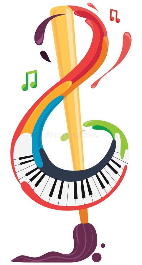Muziek en Kunst, g-sleutel met borstel en piano vector illustratie