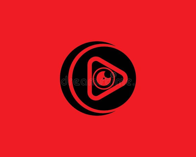 Muziek en media van het spelersembleem de pictogrammen van het symbolenmalplaatje stock illustratie