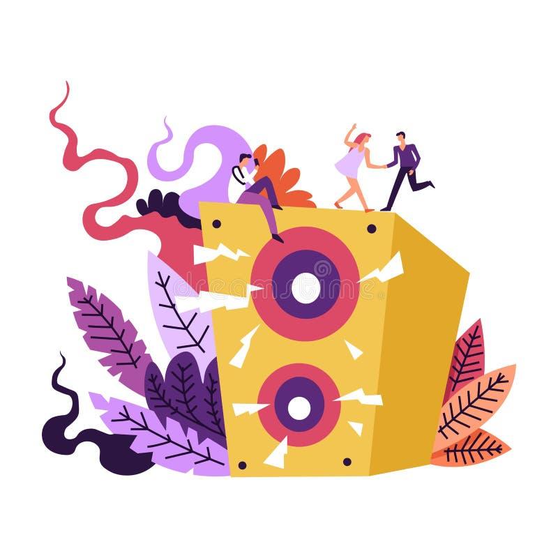 Muziek en wijsjesgeluiden die omhoog uit luidsprekers komen stock illustratie