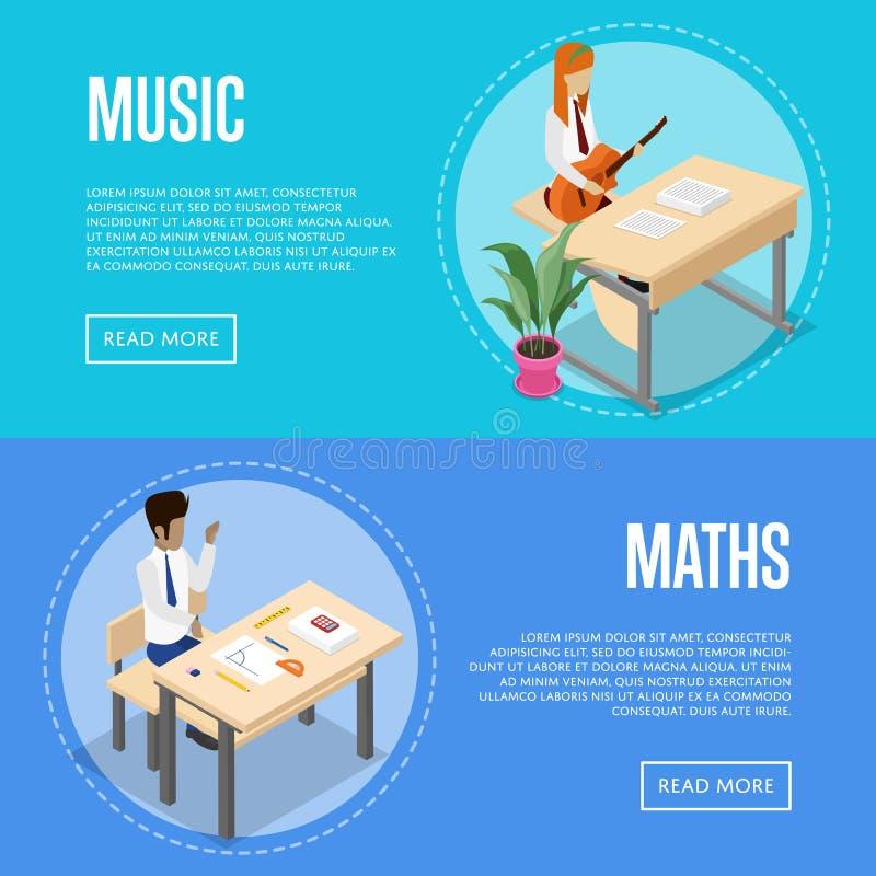 Muziek en wiskunde die op school bestuderen vector illustratie