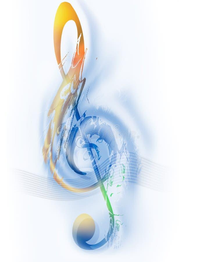 Muziek - G-sleutel - Digitaal Art. vector illustratie