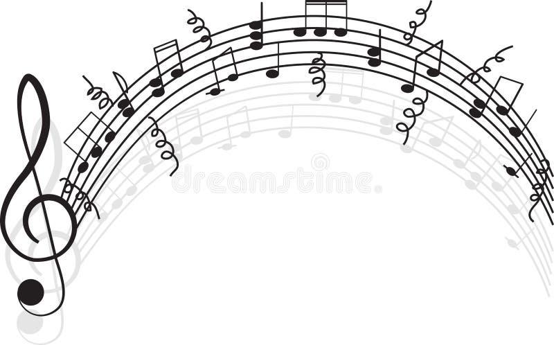 Muziek. G-sleutel en nota's voor uw ontwerp. stock illustratie