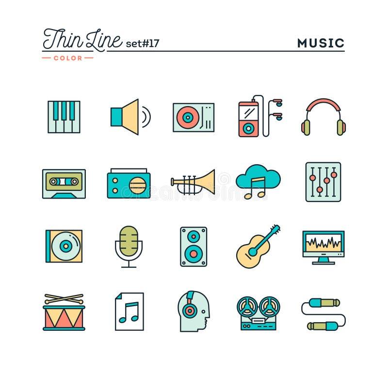 Muziek, geluid, opname, het uitgeven en meer, de dunne pictogrammen van de lijnkleur royalty-vrije illustratie