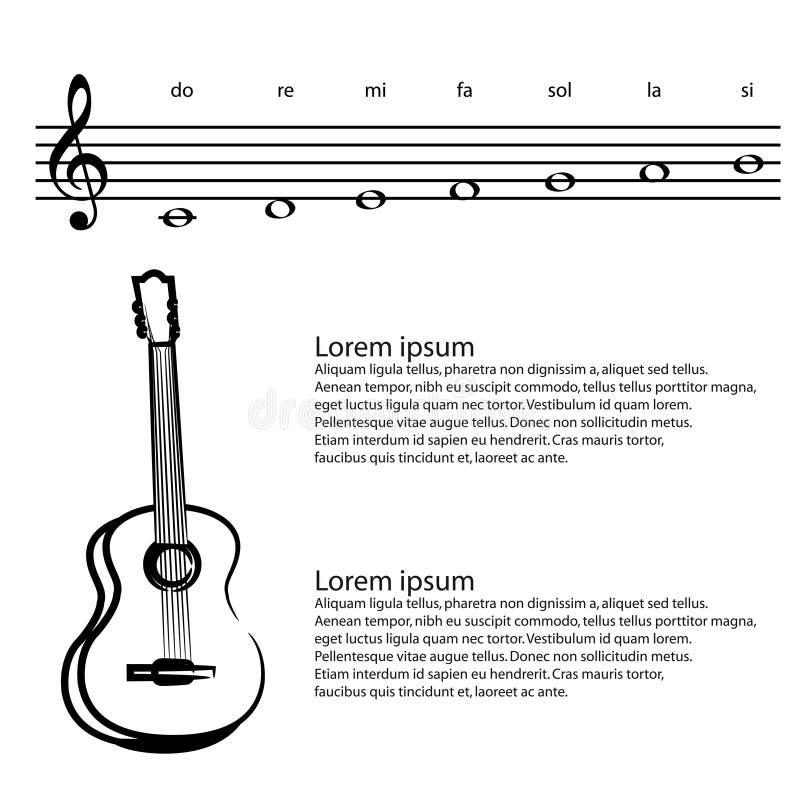 Muziek, gitaar, Abstracte g-sleutel, nota's Vectorachtergrond royalty-vrije illustratie