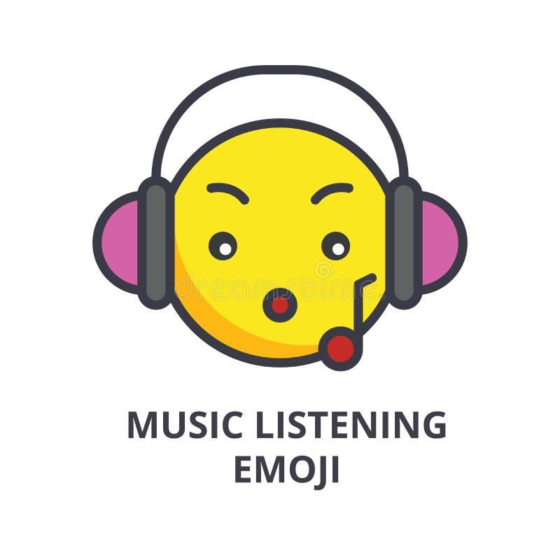 Muziek het luisteren pictogram van de emoji het vectorlijn, teken, illustratie op achtergrond, editable slagen stock illustratie