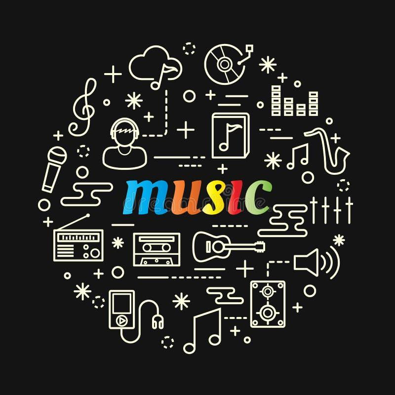 Muziek kleurrijke gradiënt met geplaatste lijnpictogrammen vector illustratie